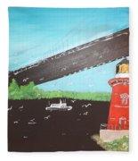 Lighthouse And Bridge Fleece Blanket