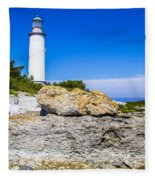 Lighthouse And Rocks Fleece Blanket
