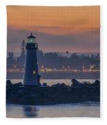 Lighthouse And Wharf At Dusk Fleece Blanket