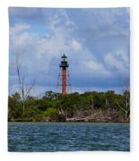 Lighthouse At Anclote Key Fleece Blanket