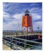 Lighthouse At Charlevoix South Pier  Fleece Blanket