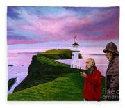 Lighthouse At Mykines Faroe Islands Fleece Blanket