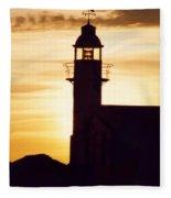 Lighthouse At Sunset Fleece Blanket