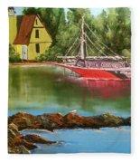 Lighthouse In Maine Fleece Blanket