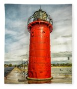 Lighthouse In South Haven Fleece Blanket