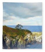 Lighthouse On A Jetty. Fleece Blanket
