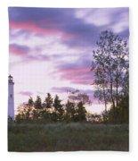 Lighthouse On A Landscape, Tawas Point Fleece Blanket