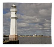 Lighthouse On A Sunny Day. Fleece Blanket