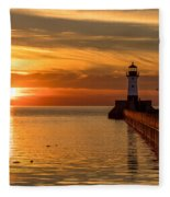 Lighthouse On Glass Fleece Blanket