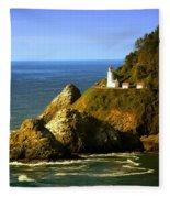 Lighthouse On The Oregon Coast Fleece Blanket