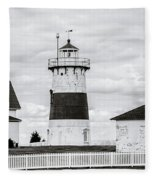 Lighthouse Point In Black And White #5 Fleece Blanket