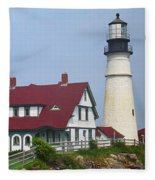 Lighthouse - Portland Head Maine Fleece Blanket