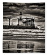 Lighthouse Reflections In Black And White Fleece Blanket