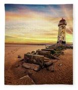 Lighthouse Sunset Wales Fleece Blanket