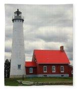 Lighthouse - Tawas Point Michigan Fleece Blanket