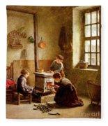 Lighting The Stove Fleece Blanket