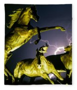 Lightning At Horse World Fine Art Print Fleece Blanket
