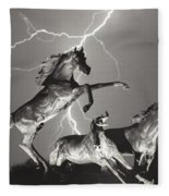 Lightning At Horse World Fleece Blanket