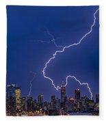 Lightning Bolts Over New York City Fleece Blanket