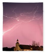 Lightning Bolts Over Spring Valley Country Church Fleece Blanket