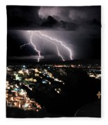 Lightning During A Thunderstorm On The Island Of Santorini, Greece Fleece Blanket