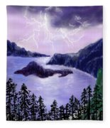Lightning In Purple Clouds Fleece Blanket