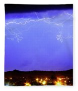 Lightning Over Loveland Colorado Foothills Panorama Fleece Blanket