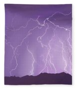 Lightning Over The Mountains Fleece Blanket