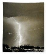 Lightning Storm City Lights Jet Airplane Fine Art Photography Fleece Blanket