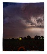 Lightning Stormy Weather Of Sunflowers Fleece Blanket