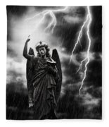 Lightning Strikes The Angel Gabriel Fleece Blanket