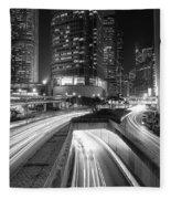 Lights Of Hong Kong Fleece Blanket