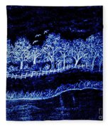 Lights On The Farm's Pond At Night Fleece Blanket