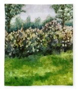 Lilac Bushes In Springtime Fleece Blanket