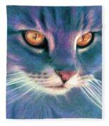 Lilac Cat Fleece Blanket