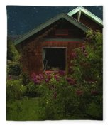Lilac Cottage By Moonlight Fleece Blanket