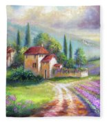 Lilac Fields In The Italian Countryside   Fleece Blanket