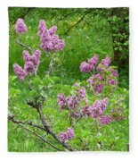 Lilac In The Spring Meadow Fleece Blanket