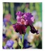 Lilac Iris In Bloom Fleece Blanket