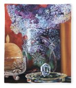 Lilacs And Candles Fleece Blanket