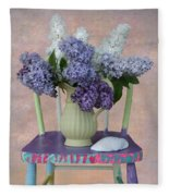 Lilacs With Chair And Shell Fleece Blanket
