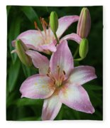 Lilies And Raindrops Fleece Blanket