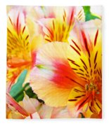 Lilies Art Prints Pink Yellow Lily Flowers 1 Giclee Prints Baslee Troutman Fleece Blanket