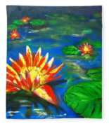 Lilies By The Pond Fleece Blanket