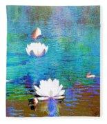 Lilies In Abstract Fleece Blanket