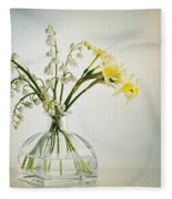 Lilies Of The Valley In A Glass Vase Fleece Blanket