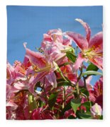 Lilies Pink Lily Flowers Art Prints Floral Summer Garden Baslee Troutman Fleece Blanket
