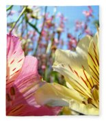 Lilies Pink Yellow Lily Flowers Canvas Art Prints Baslee Troutman Fleece Blanket