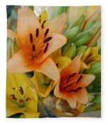 Lillies - Peach And Yellow Colors Fleece Blanket