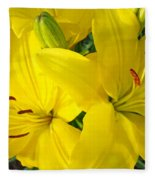 Lilly Flowers Art Prints Yellow Lilies Floral Baslee Troutman Fleece Blanket